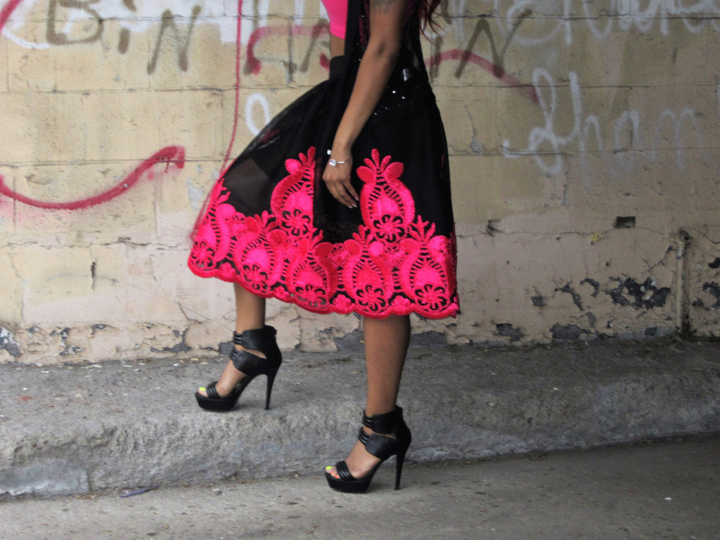 A-Line Knee Length Black Embroidered Mesh Skirt - Boujie Empire™