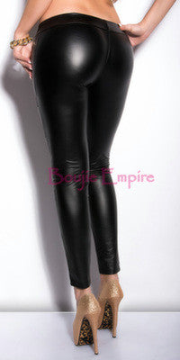 Black Studded Leather Look Leggings - Boujie Empire™