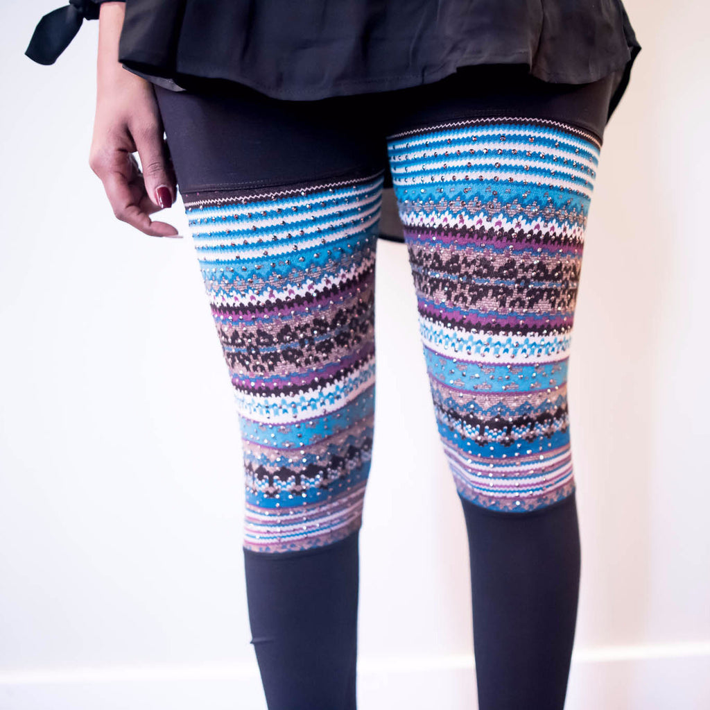 Black Leggings With Multi-Color Contrast Print