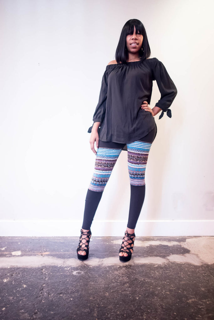 Black Leggings With Multi-Color Contrast Print - Boujie Empire™