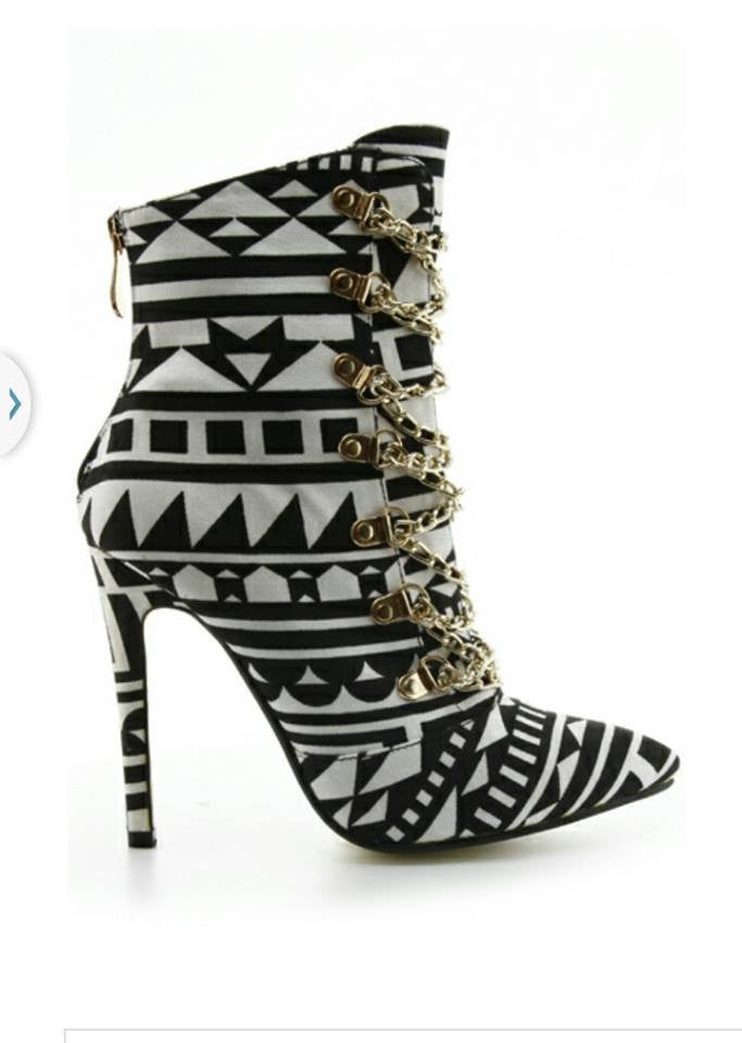 Black And White African Print Shoe Bootie - Boujie Empire™