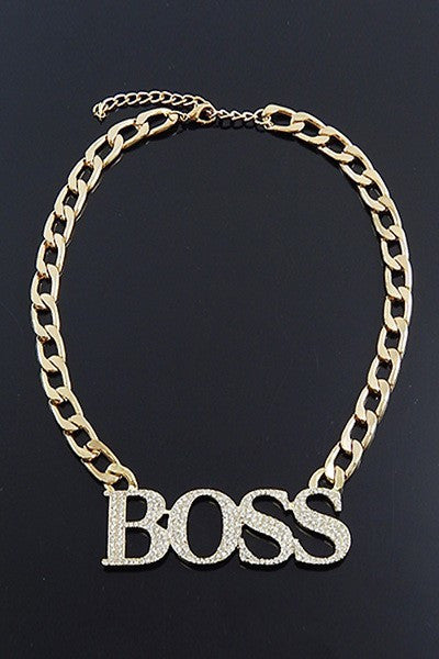 "18"" Boss Necklace With Stone Goldtone"