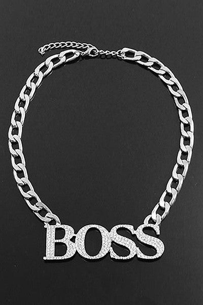 "18"" Boss Necklace With Stone Silvertone"