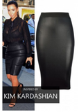 Celebrity inspired leatherette midi skirt, stretch waist band. Wet look.