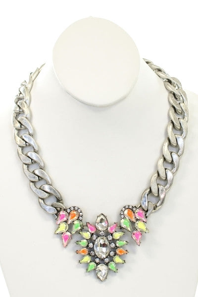 Chunky Rhodium Chain Necklace With Colorful Gems