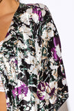 Kimono Cardigan With Dolman Sleeve, Forest Green And Purple