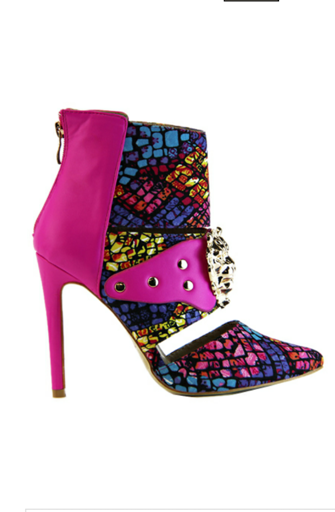 Donatella Multi Color Bootie Metal Embellishment On Front And Back Zipper.