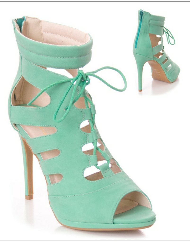 Fasano Mint Color Sandal With Cut Outs And Front Lace