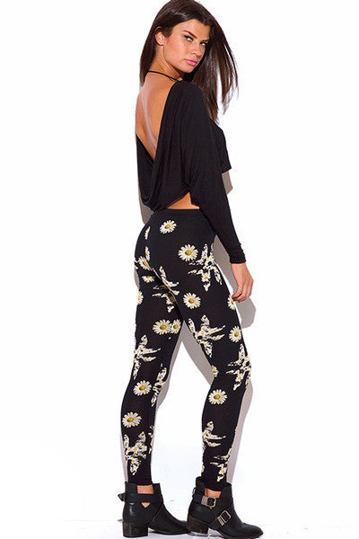 Floral Daisy Print Black Leggings
