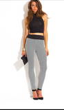 Black and white hounds tooth check leggings, black waistband.