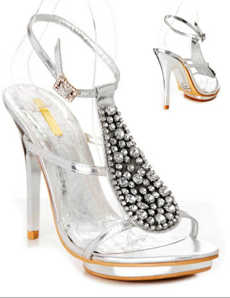 Lulu Silver Strappy Sandal With Stone Embellishment