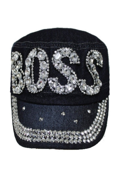Boss Crystal And Rhinestone Cap, Military Style - Boujie Empire™