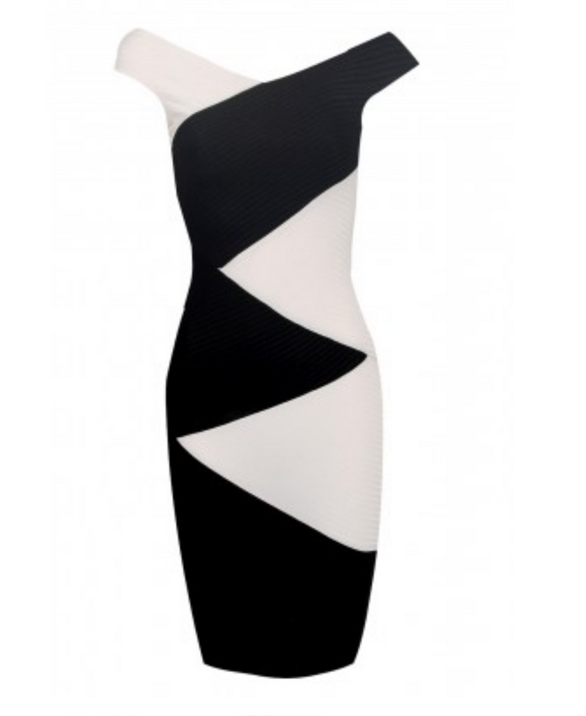 Monochrome Ribbed Dress, Zig Zag Contrast - Boujie Empire™