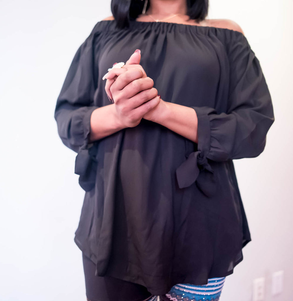 Off Shoulder Contemporary Top With Tie At Wrist