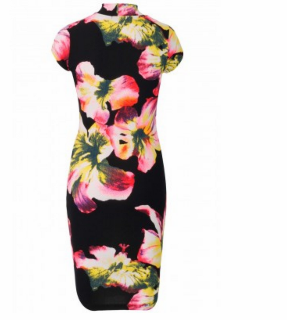 Floral crepe midi dress,  cap sleeve, floral print all over.