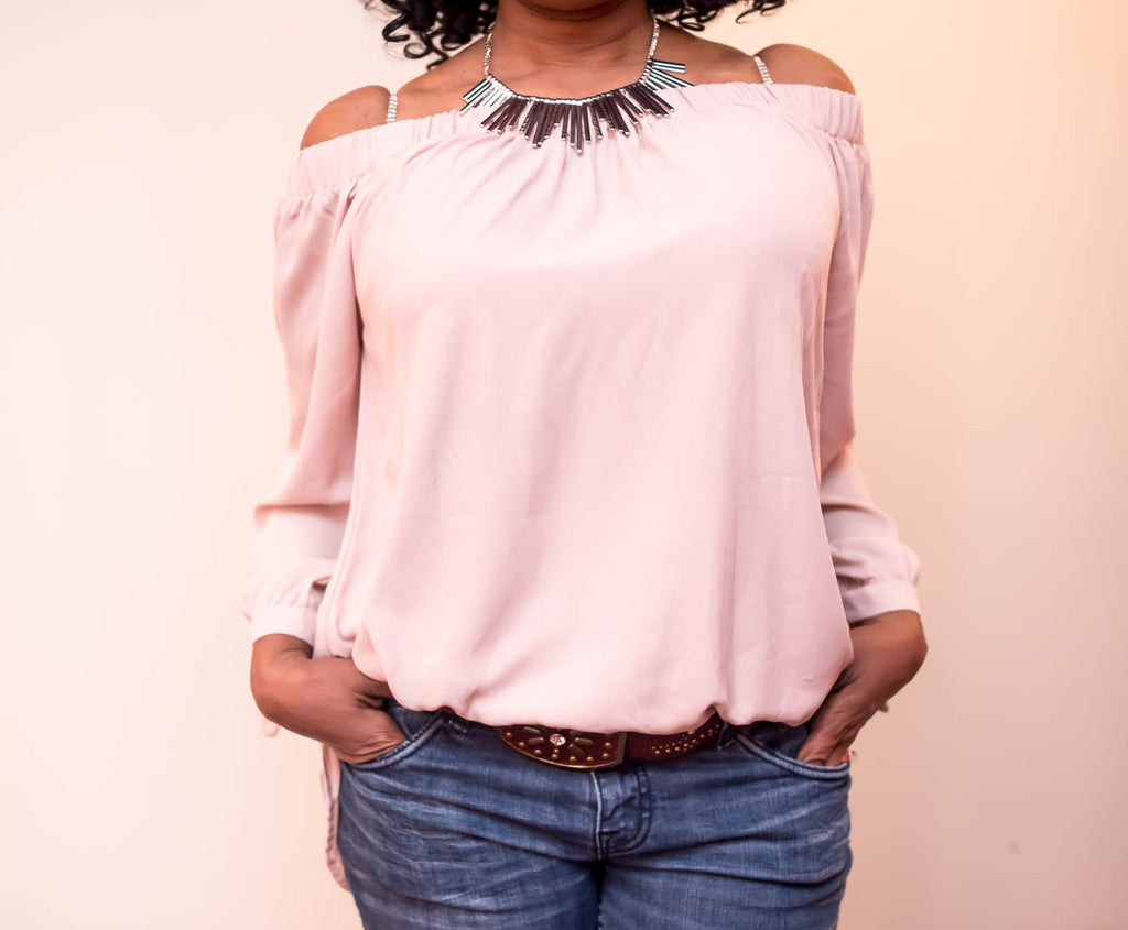 Off Shoulder Contemporary Top With Tie At Wrist - Boujie Empire™