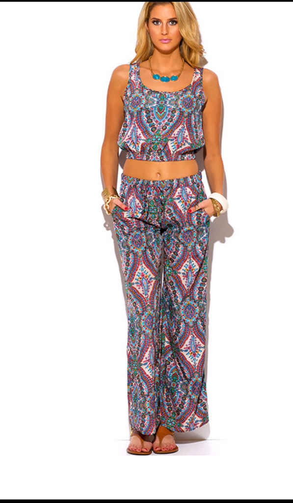Paisley Print Crop Top And Pants Set. - Boujie Empire™