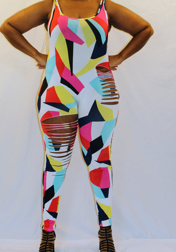 Razor Slashed Multi Color Print Jumpsuit