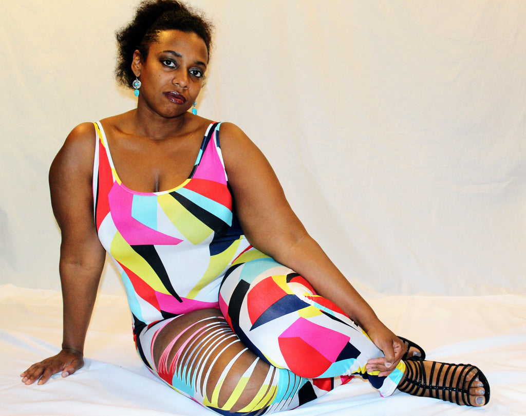 Razor Slashed Multi Color Print Jumpsuit - Boujie Empire™