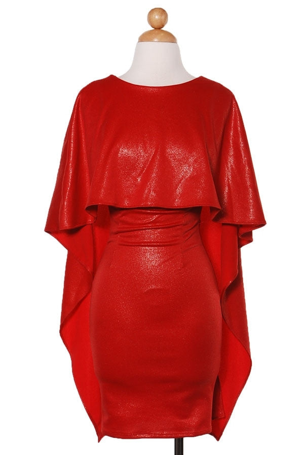 Red Caped Dress - Boujie Empire™