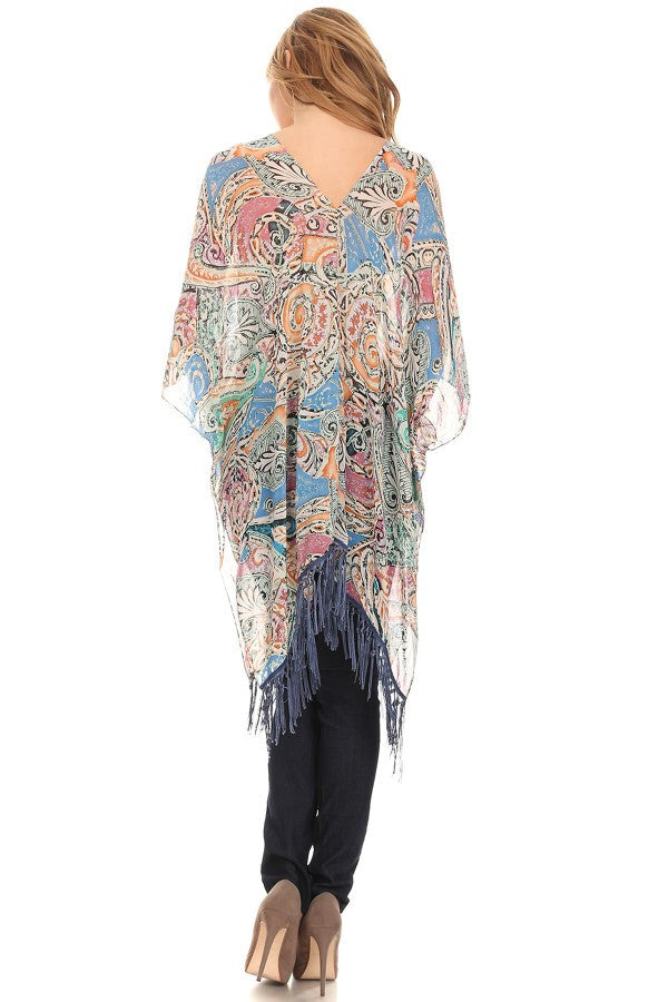 Printed Relaxed Style Fringe Top