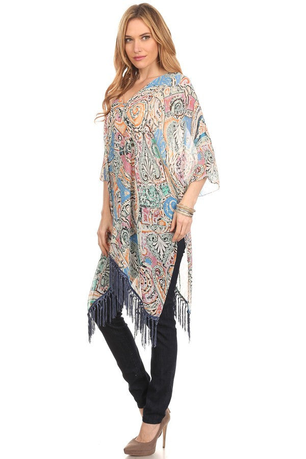 Printed Relaxed Style Fringe Top - Boujie Empire™