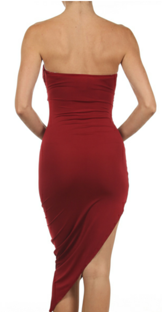 Strapless Asymmetric Midi Dress - Boujie Empire™
