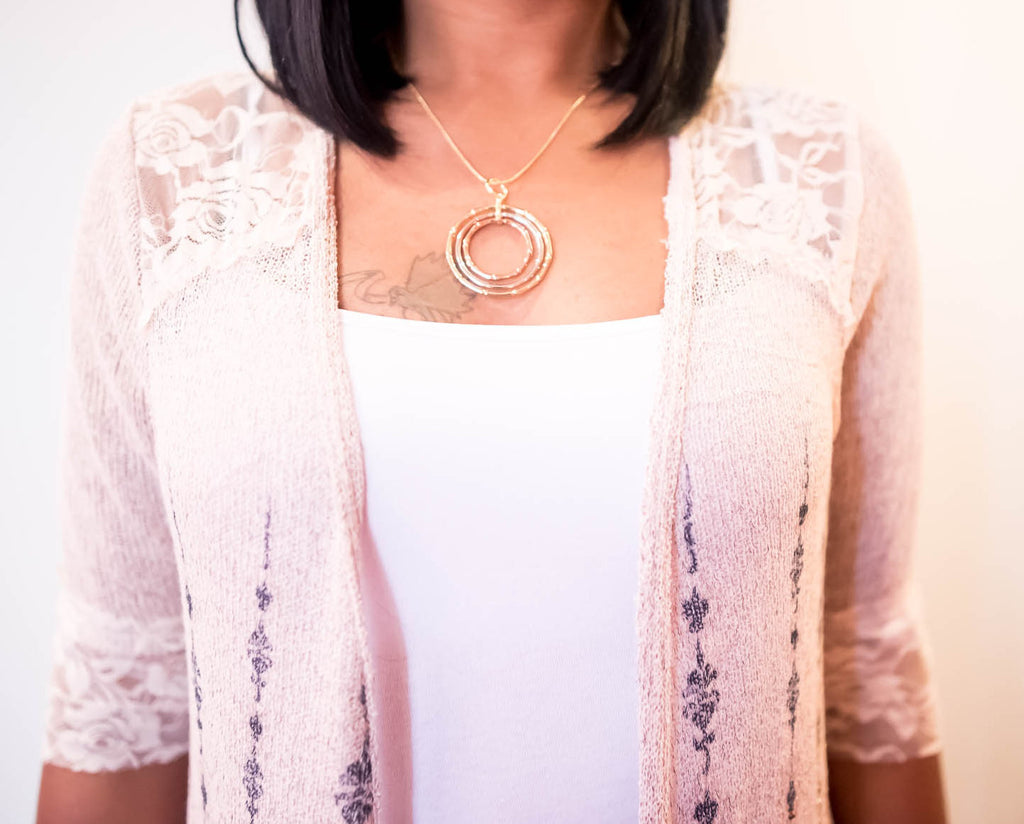 Sweater And Lace Cardigan With Stones - Boujie Empire™