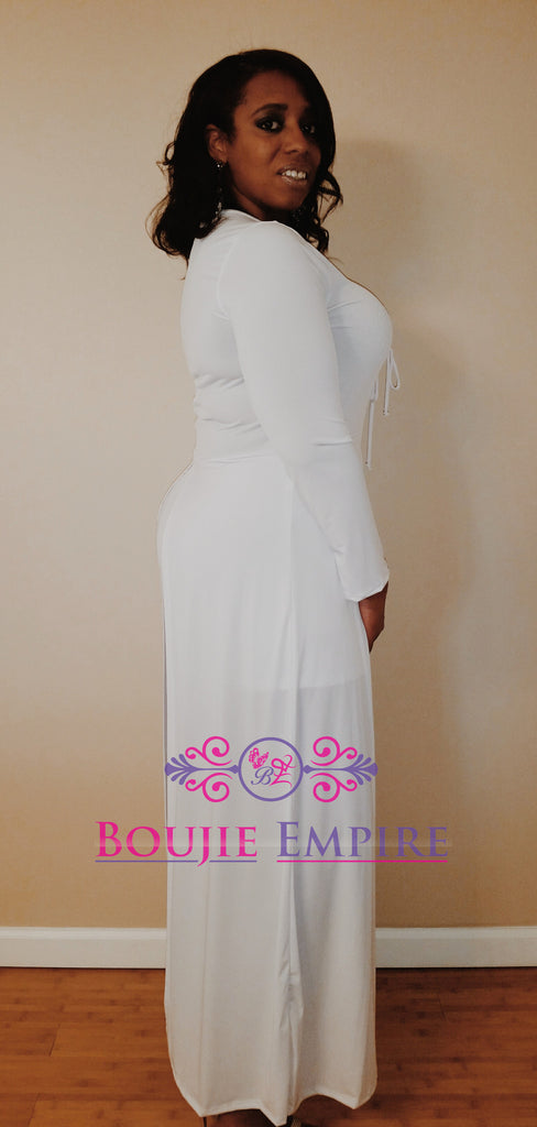 Long Sleeved Solid Romper, With Attached Maxi Layered Skirt - Boujie Empire™