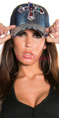 Rhinestone Cross Cap Dark Blue