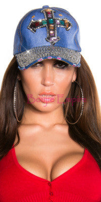 Rhinestone Cross Cap Light Blue - Boujie Empire™