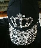 Black Jeweled Cap With Crown Design