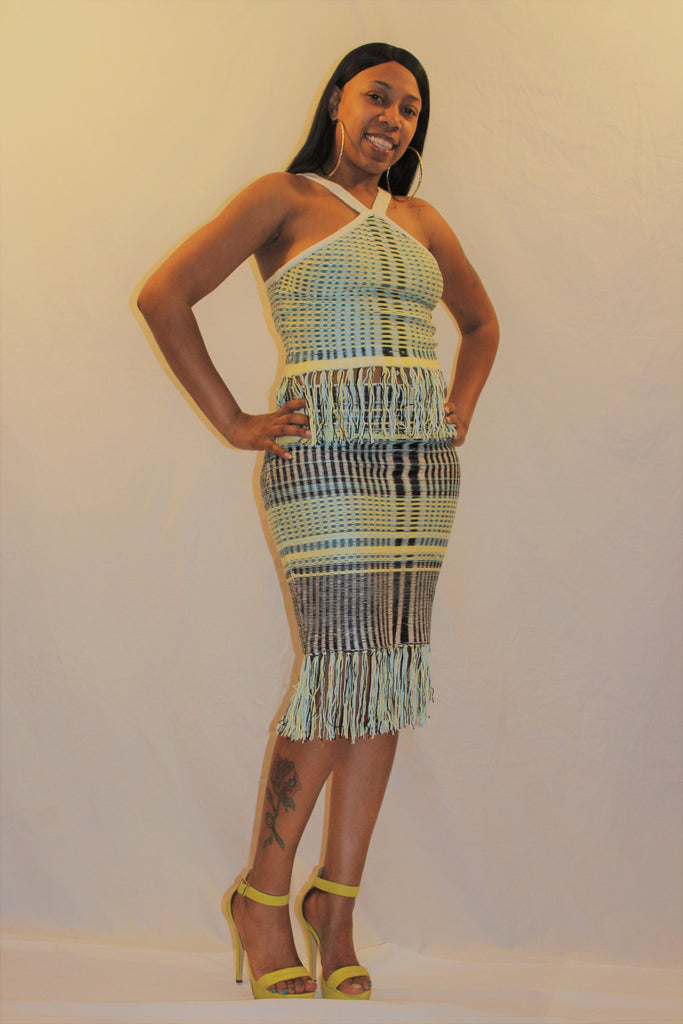 Knitted Halter Top And Skirt Set With Fringe