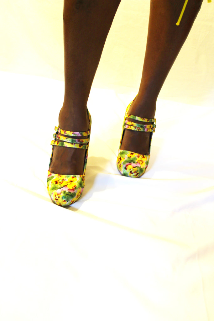 Yellow Floral Mary Jane Heel - Boujie Empire™
