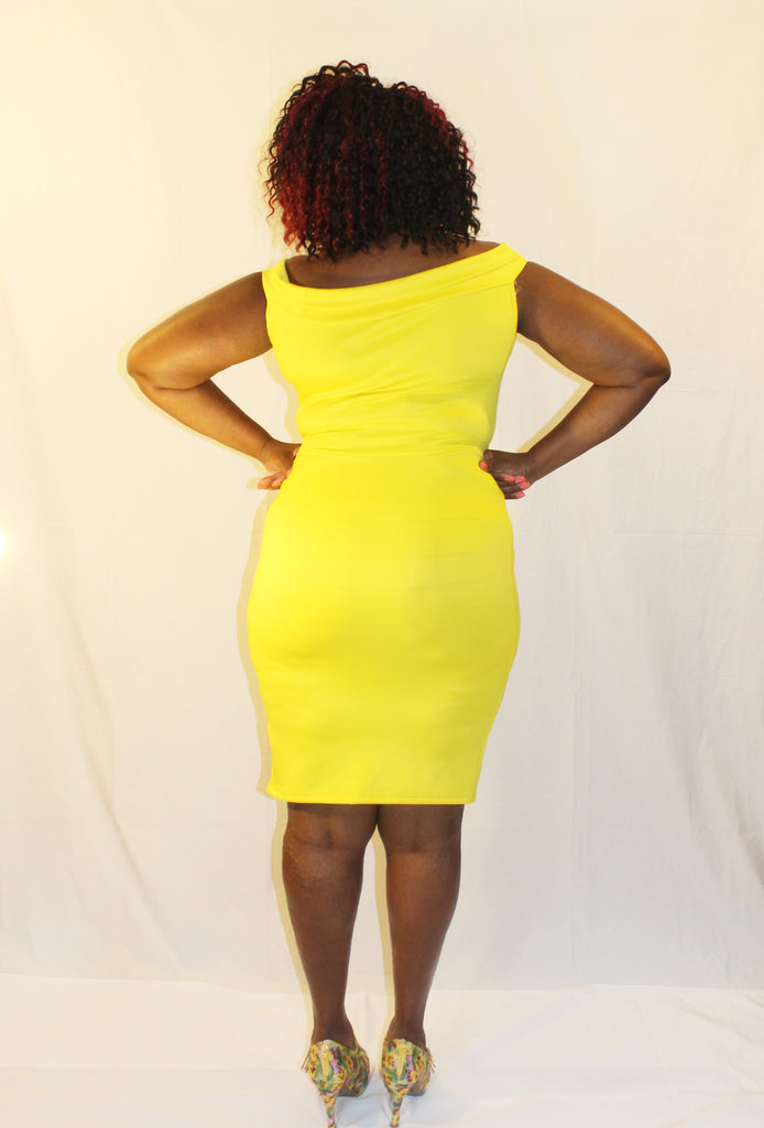 Yellow Off Shoulder Bodycon Dress - Boujie Empire™