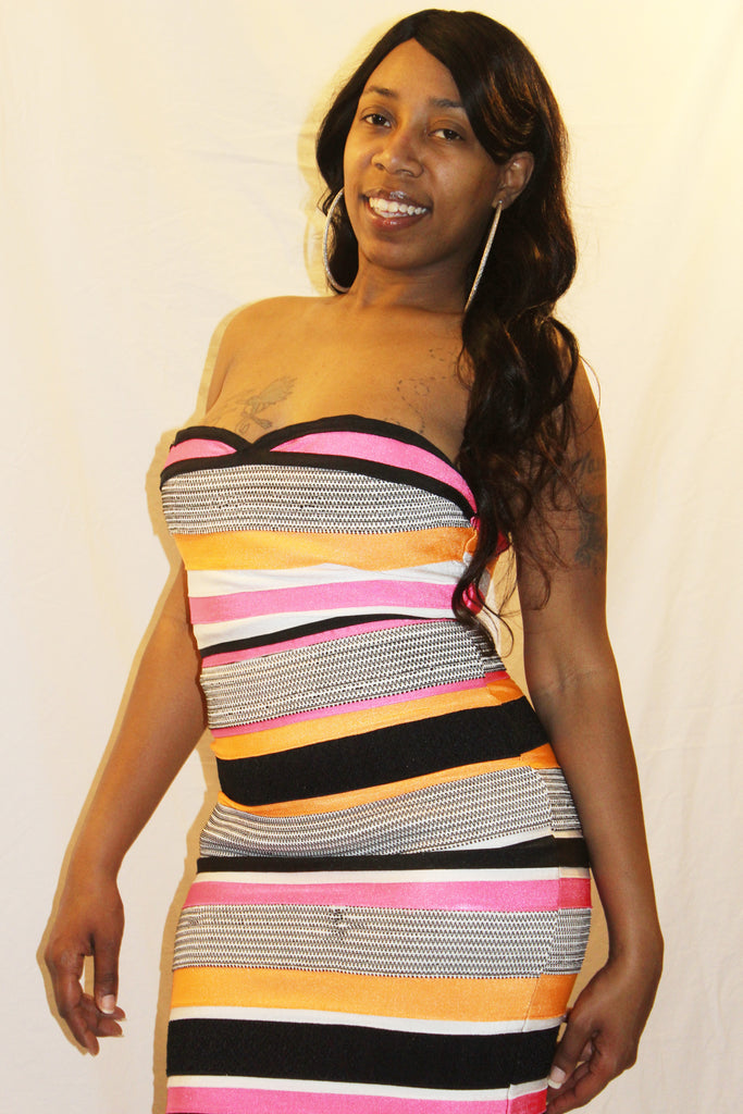 Multi-colored Striped Tube Bandage Dress