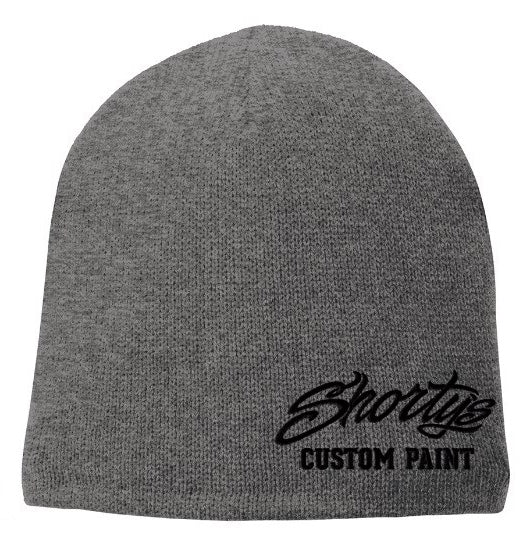 Embroidered Fleece Lined Beanie | Gray and Black