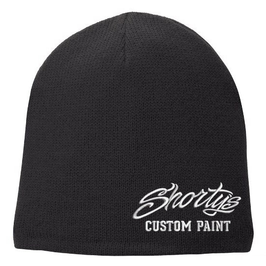 Embroidered Fleece Lined Beanie | Black and White