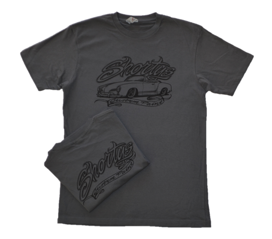 Men's Charcoal Gray Short Sleeve Shirt with Black Logo by Shorty's Custom Paint