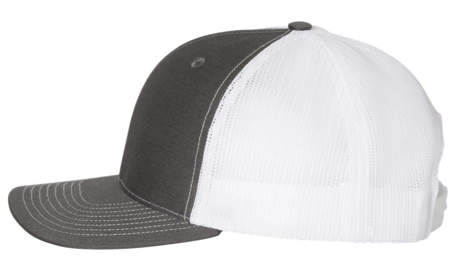 Embroidered Trucker Hat | Charcoal and White
