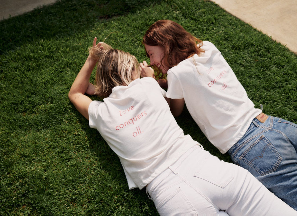 Laura Hanson Sims and Emily Armstrong in The Love Conquers All Tee