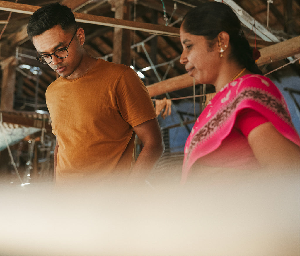 Nishanth from Osahdi working with hand weavers in Erode, India