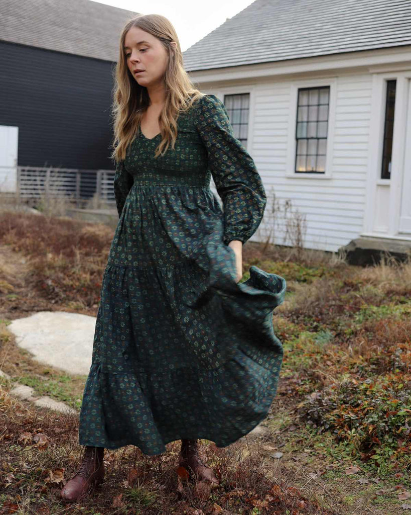 The Aimee Dress | Linden Daisy Field (Block Printed)