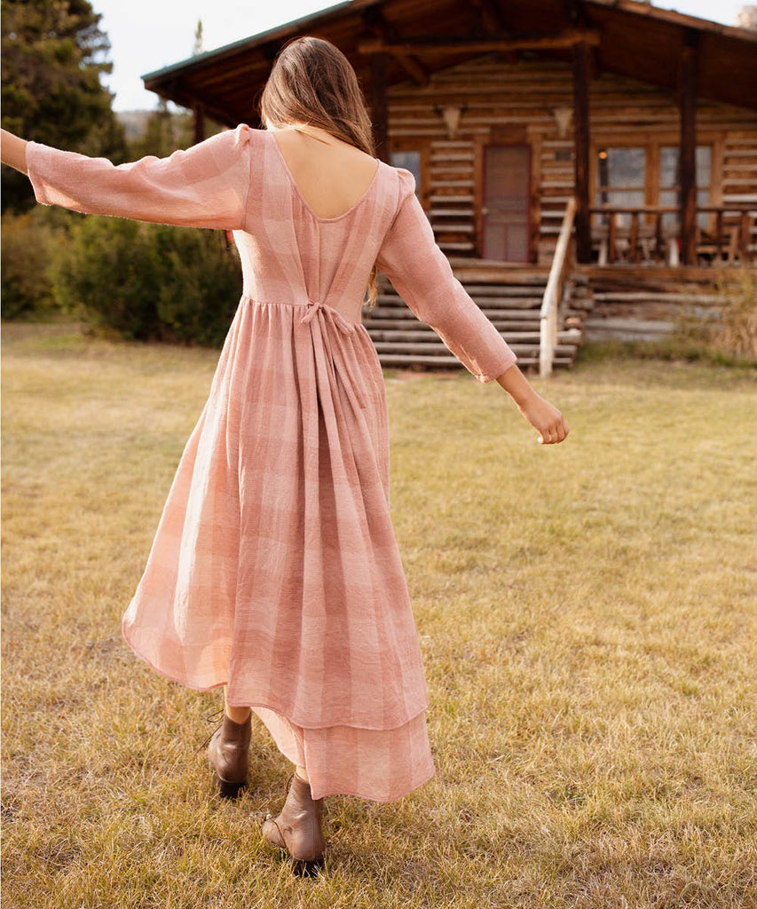 The Amelia Dress | Washed Salmon Checker image 5