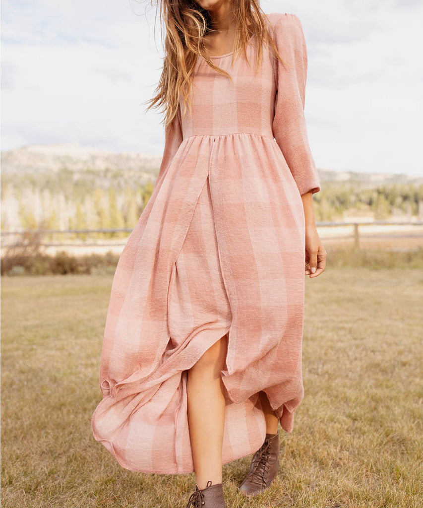 The Amelia Dress | Washed Salmon Checker image 7