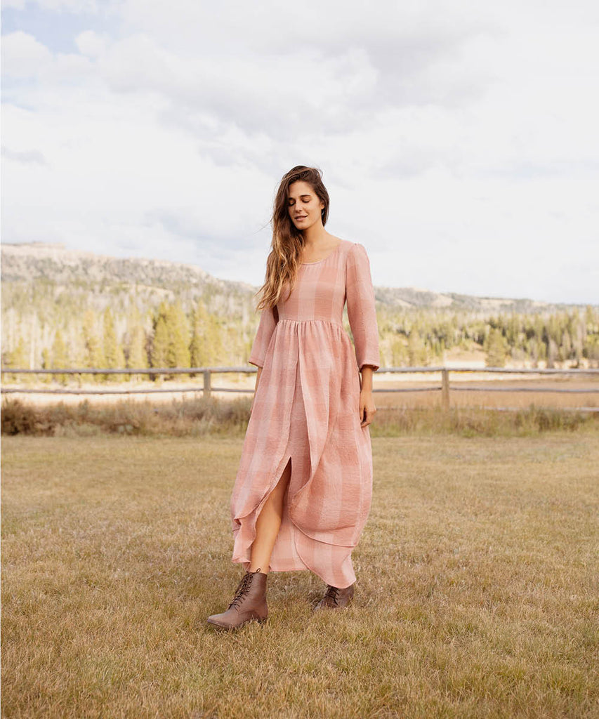 The Amelia Dress | Washed Salmon Checker image 9