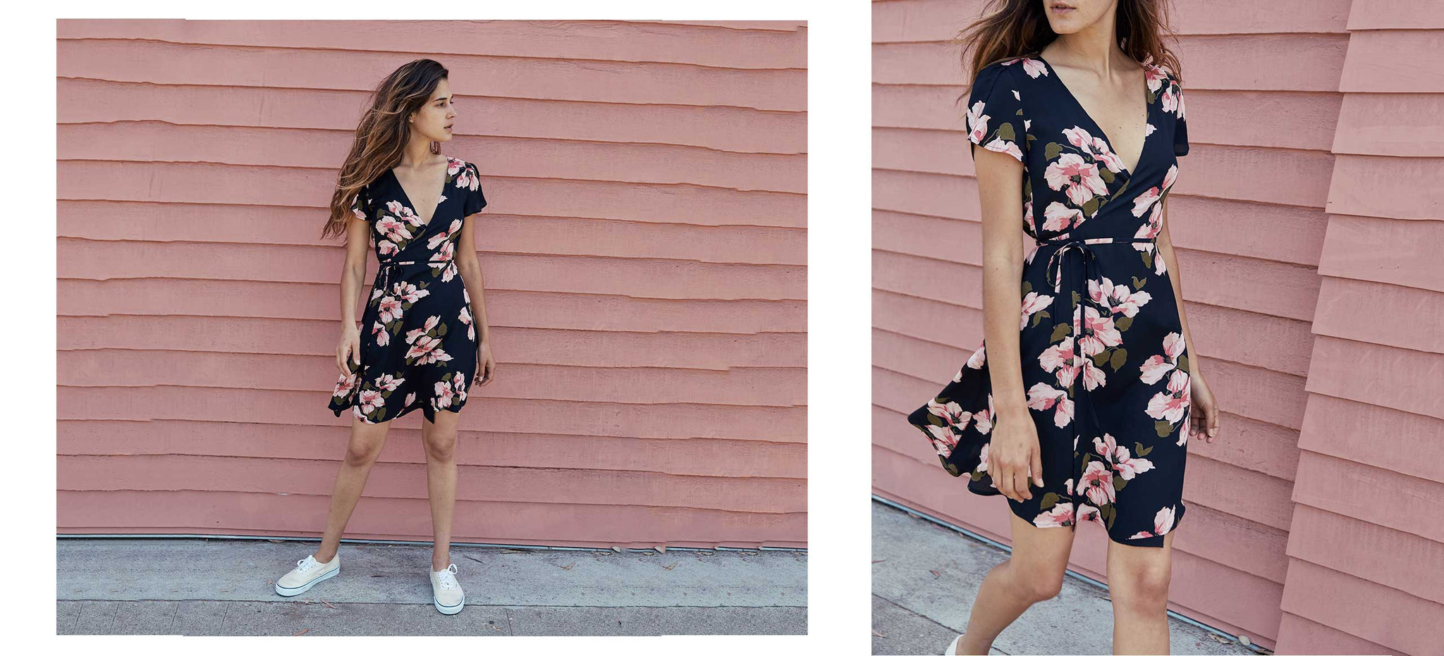 The Anya Dress | Pink and Black Floral