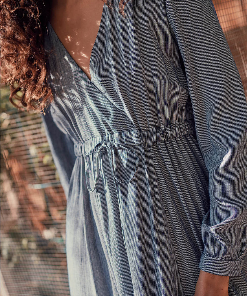 The Audrey Dress | Cobalt Pinstripe image 8