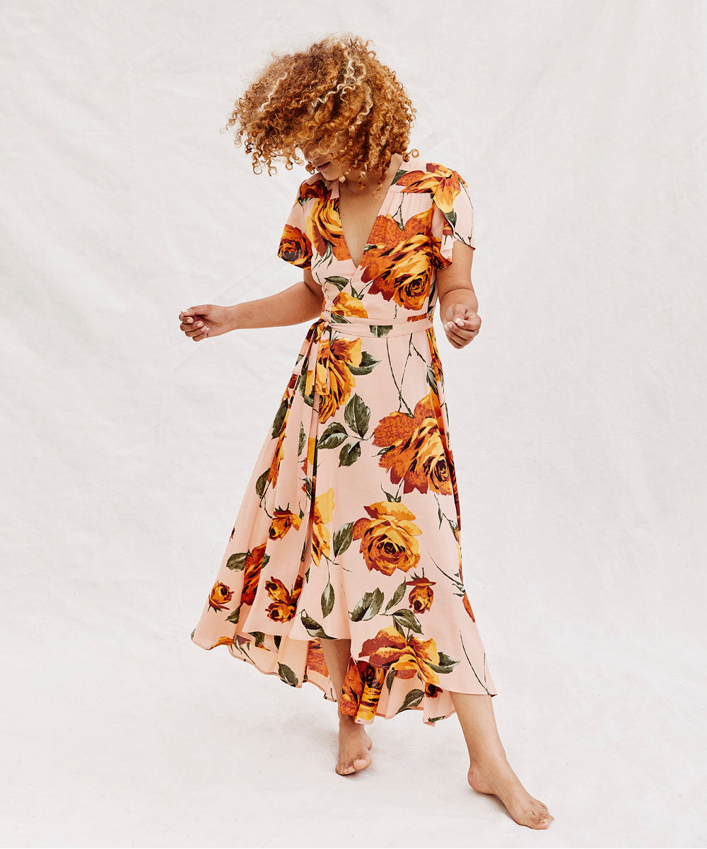 The Autumn Dress Petites | Peach Floral