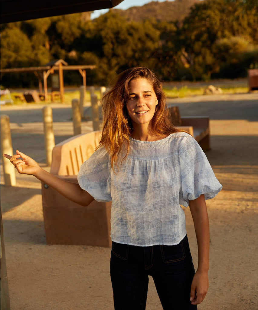 The Aya Top | Washed Sky Checker